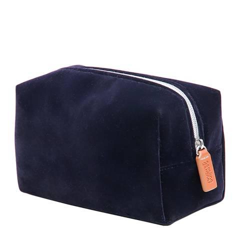 Caroline Gardner Navy Velvet Cube Cosmetic Bag