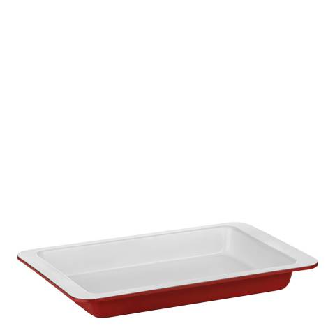 Premier Housewares Red Carbon Steel Ecocook Baking Dish with White Ceramic Coating, 4L