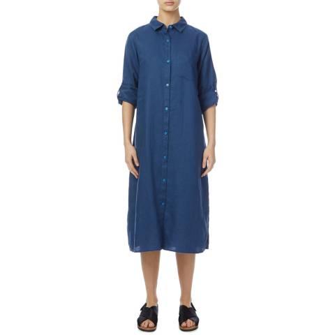 DKNY Blue Linen Shirt Dress