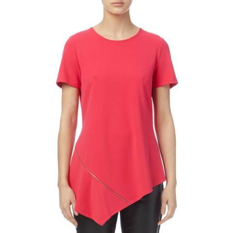 DKNY Pink Zip Asymmetric Top