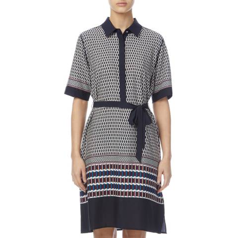 DKNY Navy/Multi Button Tie Shirt Dress