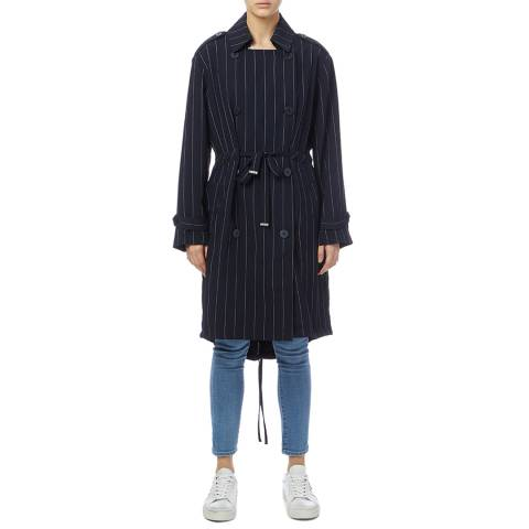 DKNY Navy/Grey Pinstripe Trench Coat