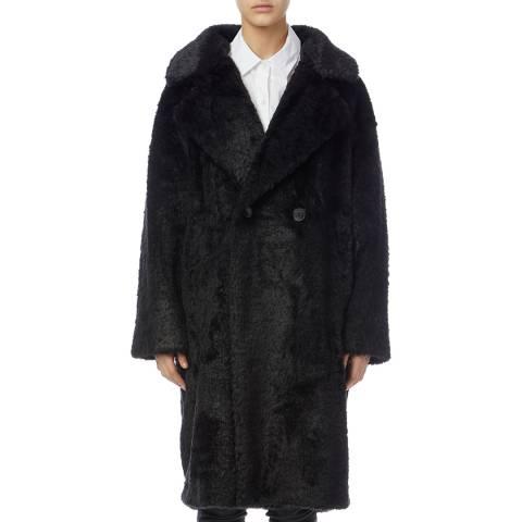 DKNY Black Faux Fur Coat