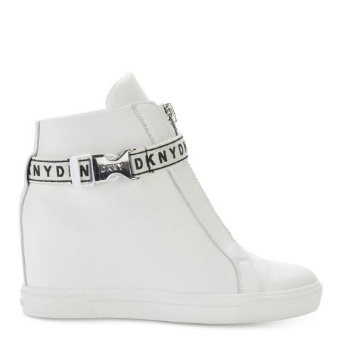 DKNY White Caddie Wedge Sneakers