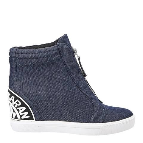 DKNY Navy Denim Connie Wedge Sneakers