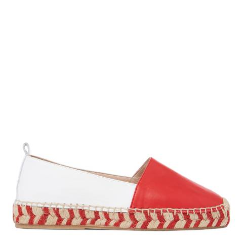 Laycuna London Red/White Leather Spanish Espadrilles