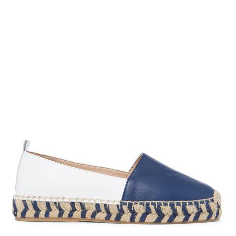 Laycuna London Navy/White Leather Spanish Espadrilles