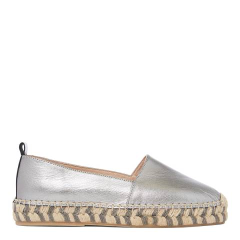 Laycuna London Silver Leather Spanish Espadrilles