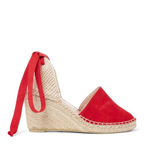Laycuna London Red Tie Up Suede Wedge Spanish Espadrilles