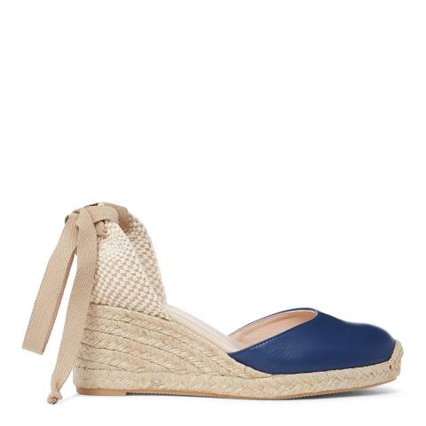 Laycuna London Navy Leather Low Wedge Spanish Espadrilles