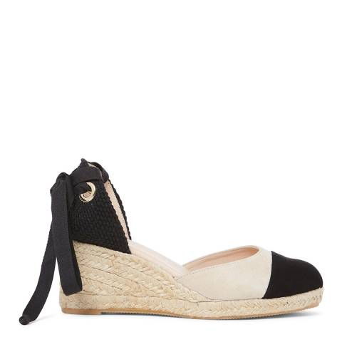 Laycuna London Black/Beige Suede Low Wedge Spanish Espadrilles