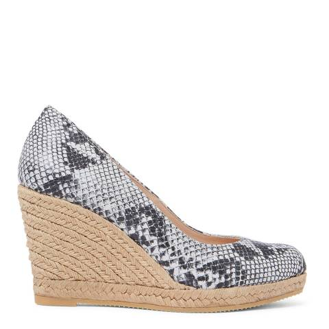 Laycuna London White Snake Print Leather Wedge Spanish Espadrilles
