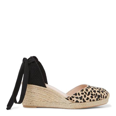 Laycuna London Leopard Suede Low Wedge Spanish Espadrilles