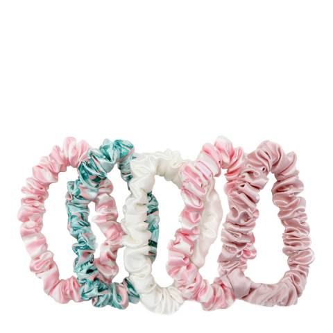 Slip Pack of 5 Silk Mid Scrunchies, Cali Collection
