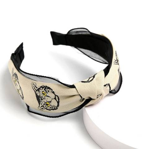 Amrita Singh Black/Ivory Cat Headband