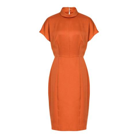 Reiss Orange Rex Satin Fitted Dress