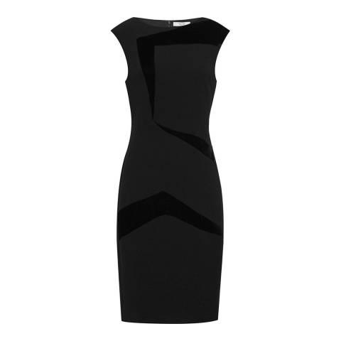 Reiss Black Payton Velvet Panel Dress