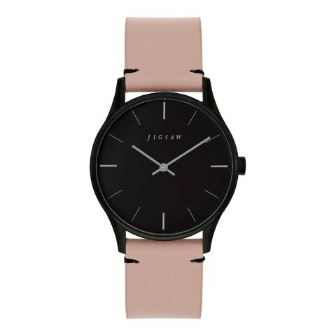 Jigsaw Pink and Black Round Leather Strap Watch