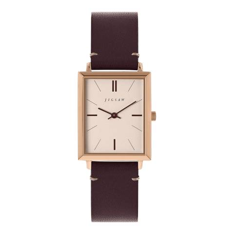 Jigsaw Wine Rectangle Leather Strap Watch