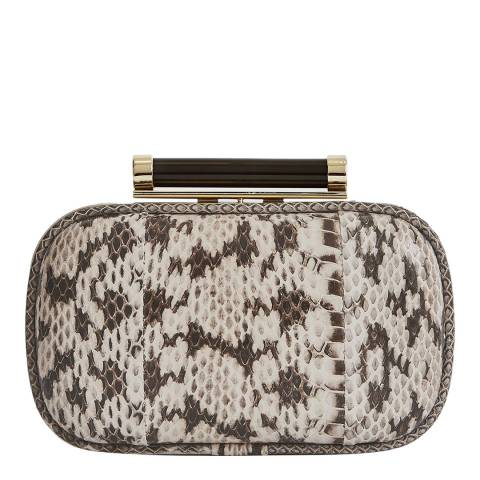 Reiss Mono Snake Bellsize Leather Clutch