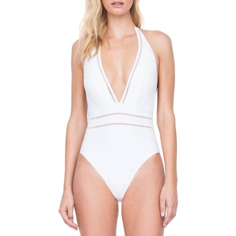 Gottex White Deep Plunge Halter Swimsuit