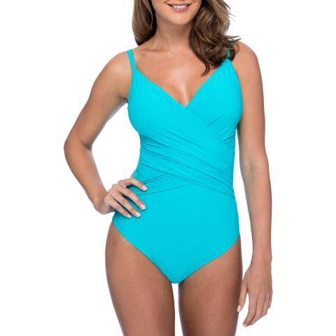 Profile By Gottex Turquoise Wrap Front Swimsuit