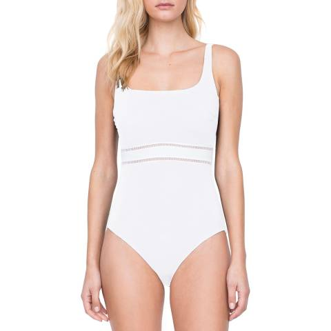 Gottex White Square Neck Tank Swimsuit
