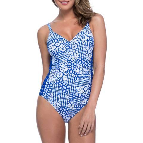 Profile By Gottex Diamond Batik V-Neck Multi Blue Swimsuit