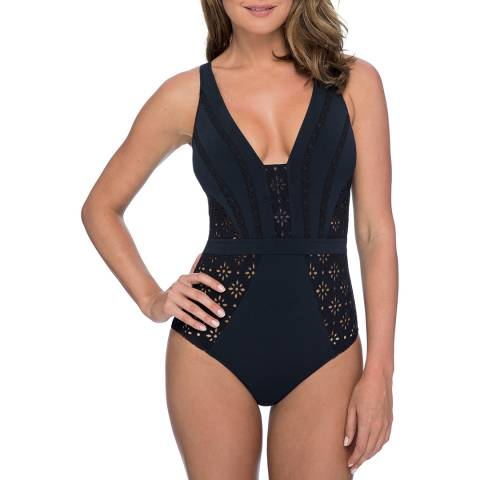 Gottex Black V-Neck One Piece Swimsuit