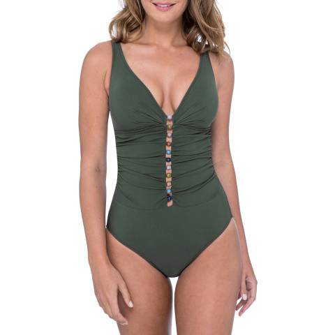 Gottex Olive Plunge Shirred One Piece Swimsuit