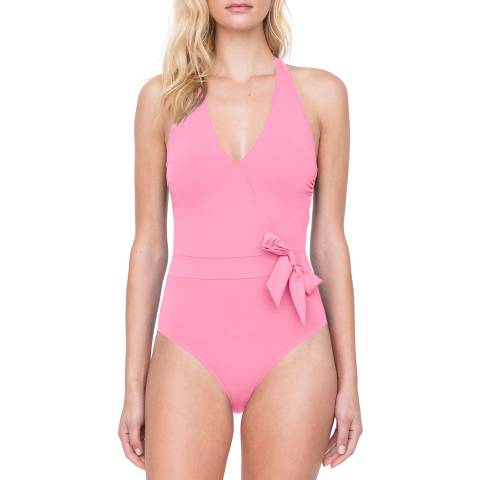 Gottex Coral Halter Surpice side Bow One Piece Swimsuit