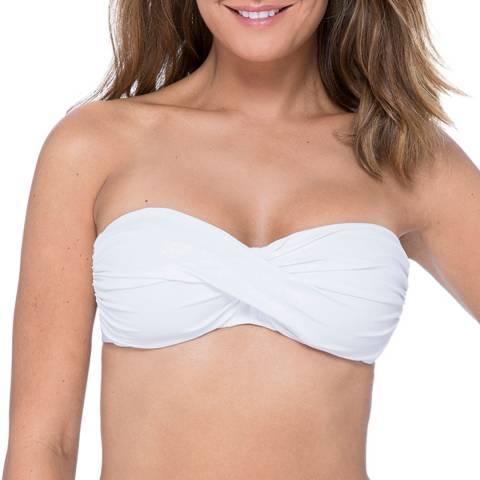 Profile By Gottex Tutti Frutti White Bandeau Strapless Twist Front Bikini Top