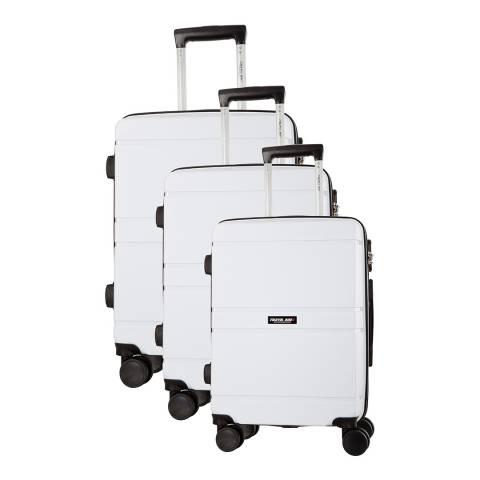Travel One White Caminera 8 Wheel Suitcase S/M/L
