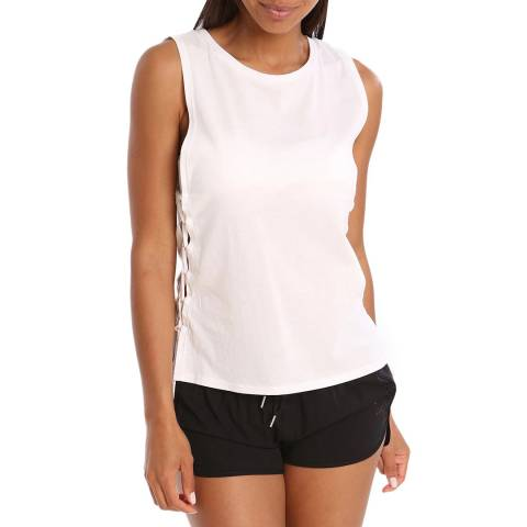 Seafolly White Active Lace Up Singlet Top