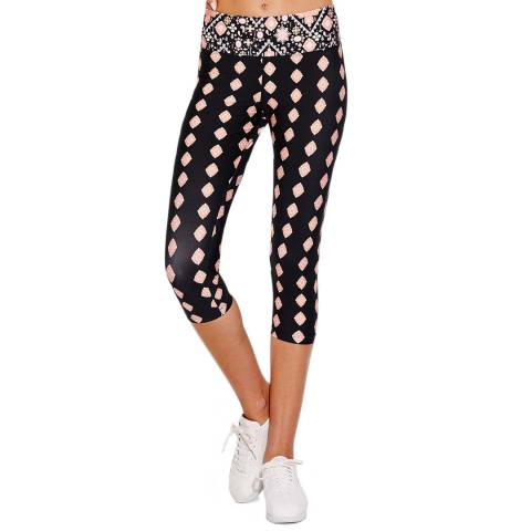 Seafolly Black/Pink Inka Gypsy 3/4 Leggings