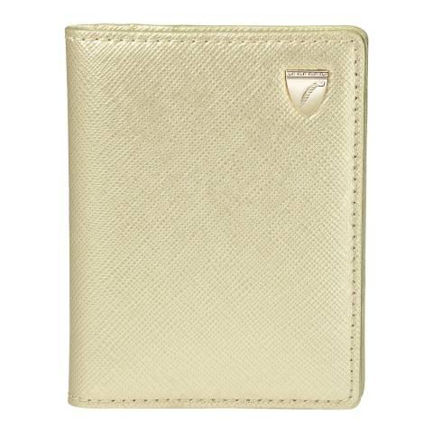 Aspinal of London ID & Travel Card Case Shield Gold Carrera