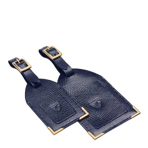 Aspinal of London Set of 2 Luggage Tags Navy Lizard