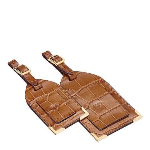 Aspinal of London Set of 2 Natural Tan Croc Luggage Tags