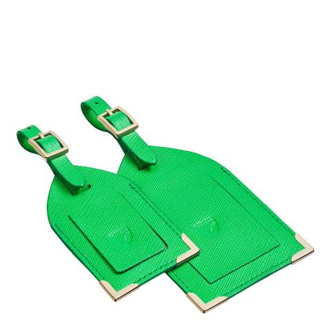 Aspinal of London Set of 2 Bright Green Luggage Tags