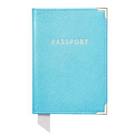 Aspinal of London Plain Passport Cover Bright Blue Carrera