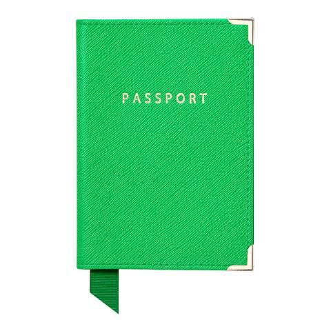 Aspinal of London Plain Passport Cover Bright Green Carrera & Grey