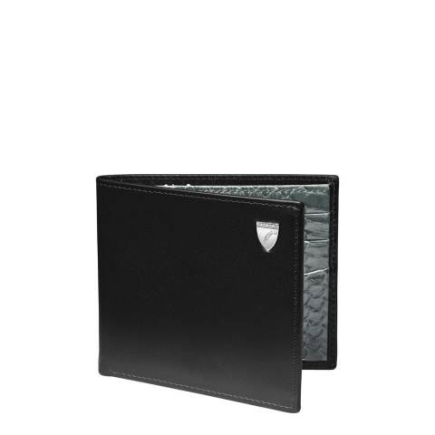 Aspinal of London Billfold Wallet 6CC Shield Black Smooth/Grey Snake