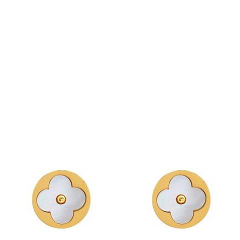Liv Oliver 18K Gold Plated & Mother Of Pearl Clover Earrings