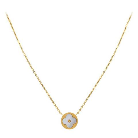 Liv Oliver 18K Gold Plated & Mother Of Pearl Clover Necklace