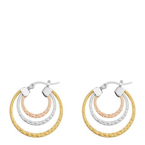 Liv Oliver 18K Hammerd Tri Color Hoop Earrings