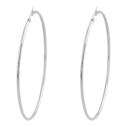 Liv Oliver Silver Large Hoop Earrings