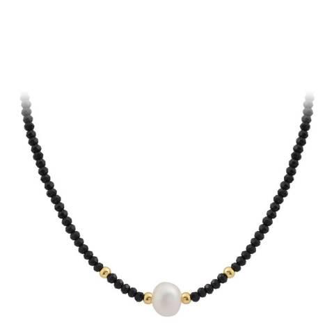 Liv Oliver 18K Gold Black Faceted Bead & Pearl Necklace