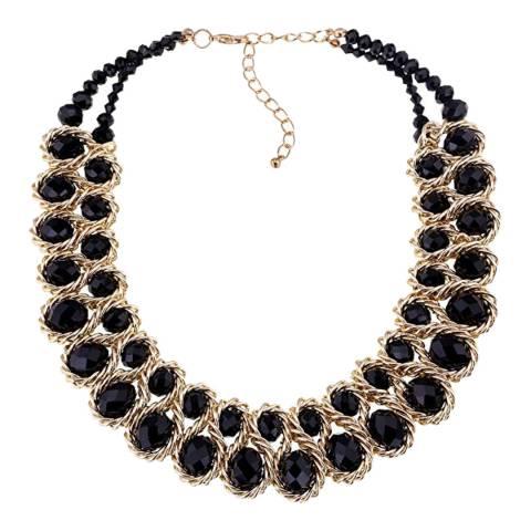 Liv Oliver 18K Gold Black Statement Crystal Necklace
