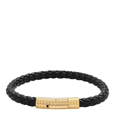 Stephen Oliver 18K Gold Plated Black Woven Leather Magnetic Bracelet