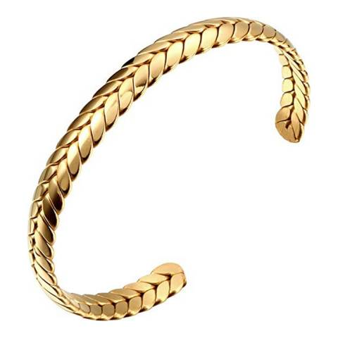 Stephen Oliver 18K Gold Plated Textured Cuff Bangle